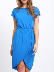 Blue Crew Neck Drawring Wasit Wrap Front Tulip Dress