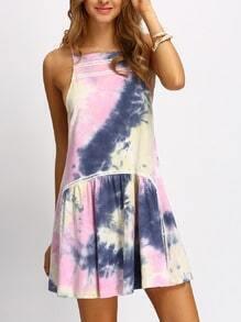 Multicolor Halter Neck Ruffle Dress