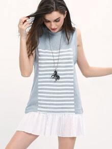 Grey Crew Neck Striped Contrast Hem Casual Dress