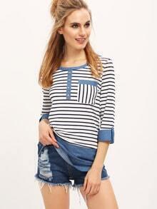 White Blue Striped Dip Hem Pocket T-shirt