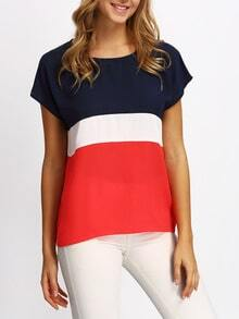 Multicolor Short Sleeve Color Block Casual T-shirt