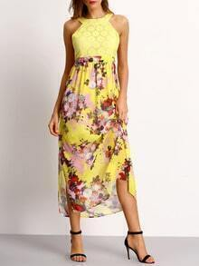 Yellow Lace Flower Print Cutout Long Dress