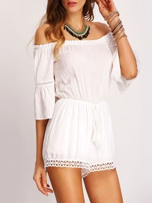 White Crochet Panel Belted Off-the-shoulder Jumpsuit