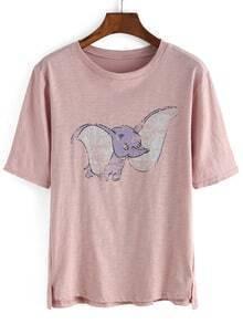 Elephant Print Loose Pink T-Shirt