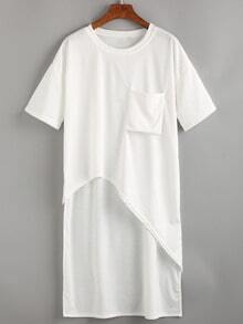 Round Neck Pocket Asymmetrical T-Shirt