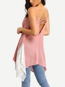 Pink White Lace Contrast Crisscross Slip Blouse