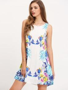 Multicolor Sleeveless Floral Print Casual Dress
