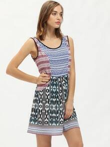 Multicolor Vintage Print Pockets Shift Dress