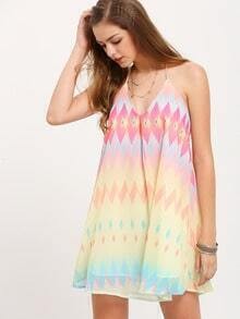 Multicolor Backless V Neck Sun Slip Dress