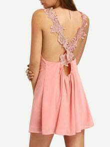 Pink Deep V-neck Crochet Strap Crisscross Back Casual Dress