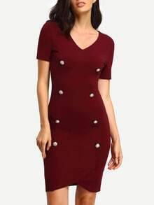 Burgundy V Neck Short Sleeve Bodycon Dress