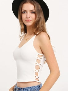 Cream Jersey Crisscross Side Crop Top
