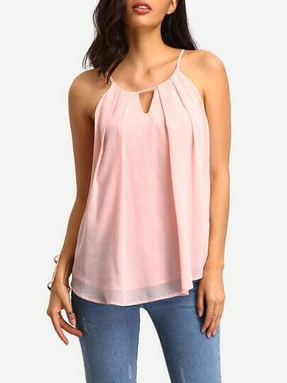 Pink Spaghetti Strap Pleated Cami Top