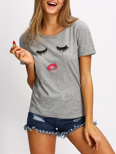Grey Short Sleeve Cartoon Pattern Casual T-shirt