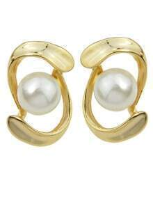 Gold Plated Pearl Stud Earrings