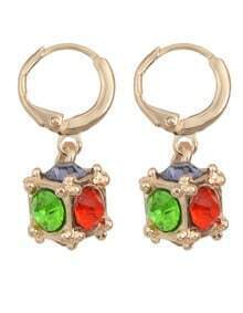 Colorful Rhinestone Clip On Earrings