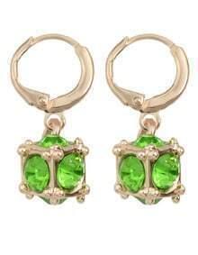 Green Rhinestone Clip On Earrings