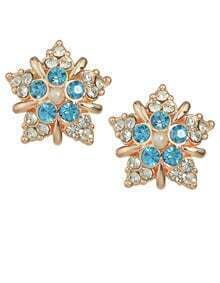 Blue Rhinestone Flower Stud Earrings
