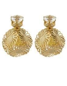 Yellow Rhinestone Ball Stud Earrings