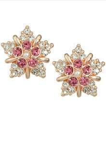 Hotpink Rhinestone Flower Stud Earrings