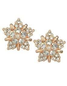 White Rhinestone Flower Stud Earrings