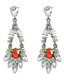 Colored Rhinestone Long Drop Earrings