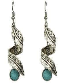 Silver Turquoise Leaf Drop Earrings