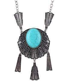 Big Turquoise Pendant Necklace