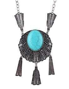 Big Turquoise Pendant Necklace