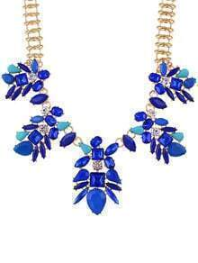 Blue Rhinestone Flower Statement Necklace