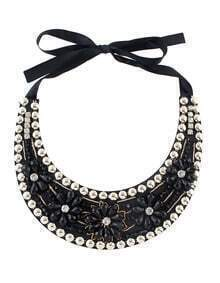 Black Beads Flower Collar Necklace