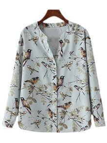 Multicolor V Neck Buttons Birds Print Blouse