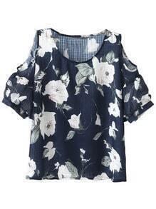 Multicolor Cold Shoulder Short Sleeve Floral Blouse