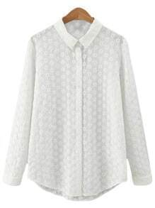 White Buttons Lapel Flower Embroidery Blouse