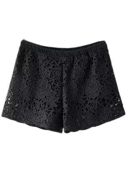 Black Elastic Waist Rose Lace Shorts
