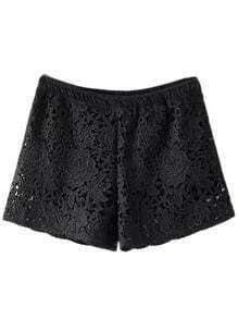 Black Elastic Waist Rose Lace Shorts