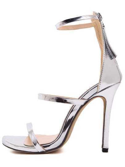 Silver Stiletto High Heel Ankle Strap Sandals