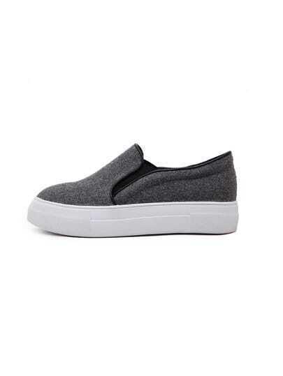 Grey Felt Flatform Slip On Sneakers