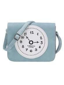 Studded Clock Patchwork Flap Crossbody Bag