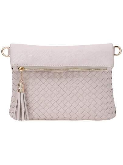 Braided Tasselled Top Zip Off-white Envelope Clutch