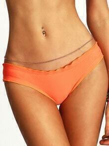 Ruffle Hem Back Shirred Low-rise Orange Bikini Bottoms