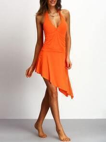 Halter Assymetrical Orange Multiway One-piece Swimwear