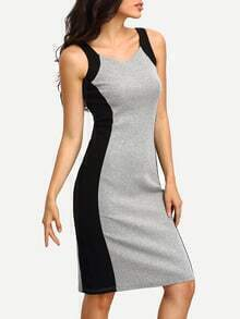Back Slit Contrat Panel Tank Dress