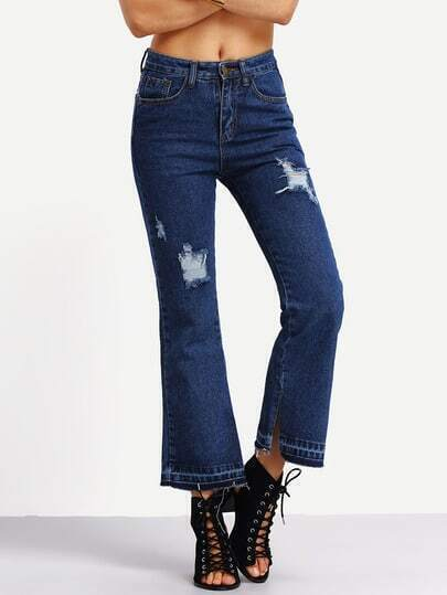 Distressed Hem Slit Ankle Flare Jeans