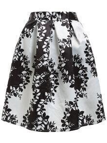 Contrast Leaf Print Box Pleat Flare Skirt