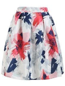 Flower Print Box Pleat Flare Skirt