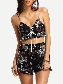 Flower Print Lace-up Ruffled Black Two-piece Suit