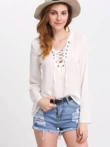 White Bell Sleeve Lace Up Split Chiffon Shirt