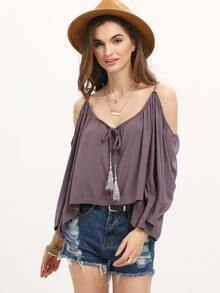 Grey Cold Shoulder Bell Sleeve Lace Up Shirt