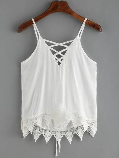 White Spaghetti Strap Crochet Lace Up Cami Top